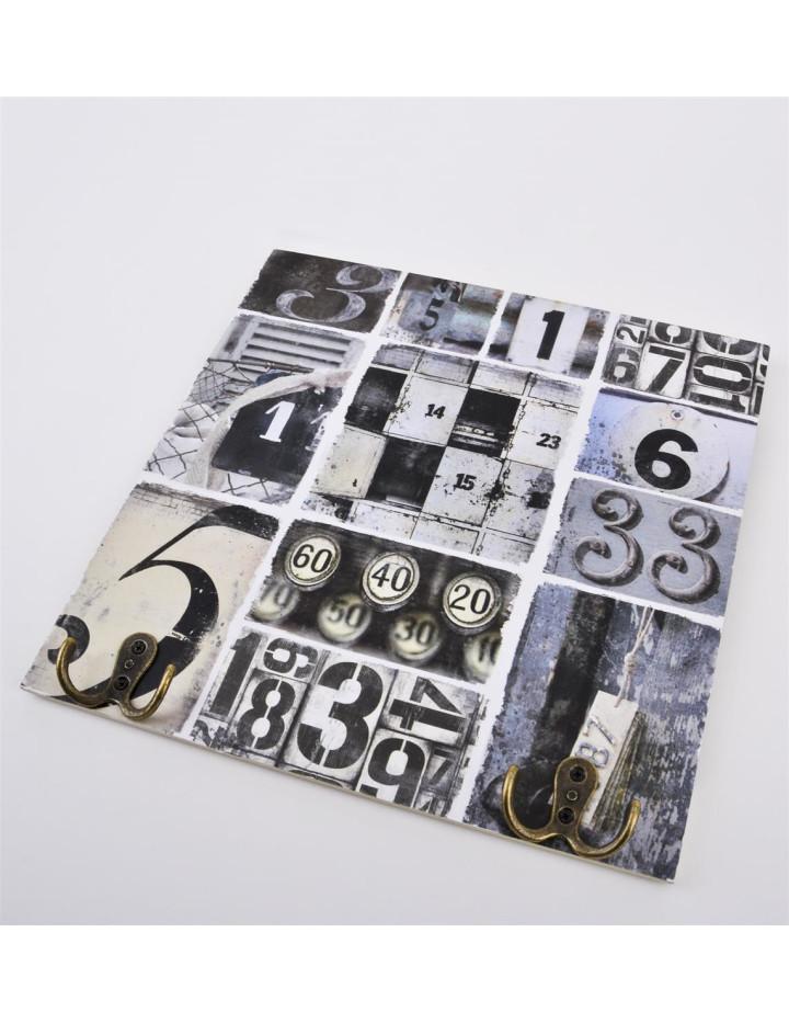 wandbild mit 2 haken zahlen design kunstdruck 30x30cm grau 12 95 eu. Black Bedroom Furniture Sets. Home Design Ideas
