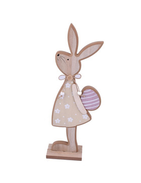 Rabbit -Girl- Deco-Figure wood 41x14x6cm pink-natural