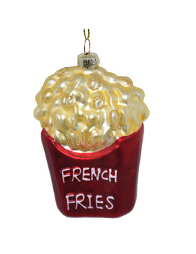 Baumkugel -French Fries- Glas 8cm rot