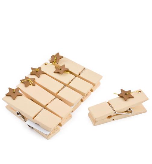 Clip Stars Set-6 Deco wood 5cm cream