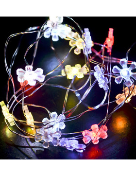 Lightstring Flower-Twinkle 10-LED Battery 100cm colored