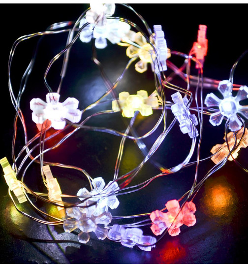 Lightstring Flower-Twinkle 20-LED Battery 200cm colored